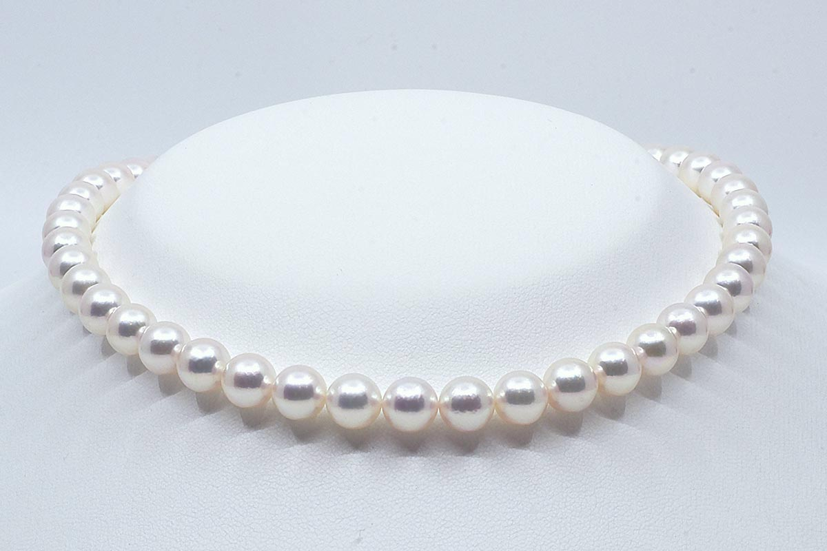 White-Silver-Pink Japanese Akoya Pearl Necklace, 8-8.5mm AAA