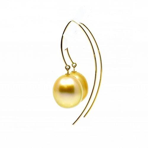 South Sea Gold Pearl Drop Earrings 11-12mm