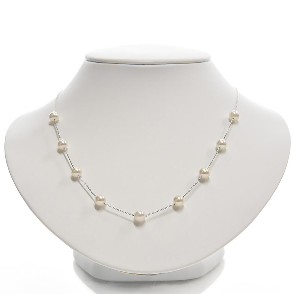 """Japanese Akoya Pearl """"Tin-Cup"""" Station Necklace"""