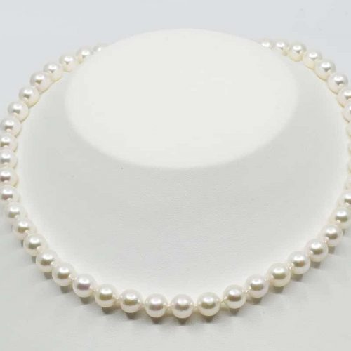 White Japanese Akoya Pearl Necklace, 8-8.5mm