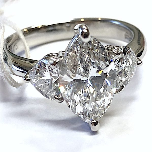 2 ct diamond marquee ring with certification