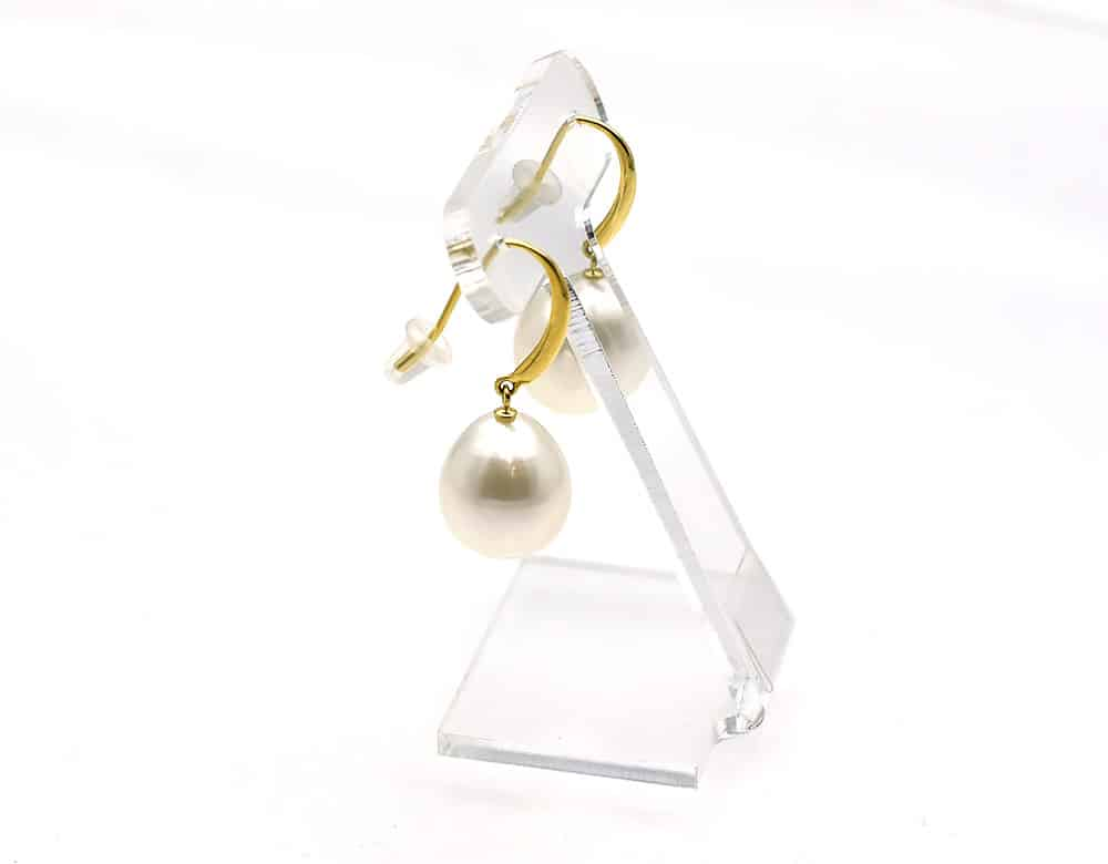 White south sea drop pearl earrings