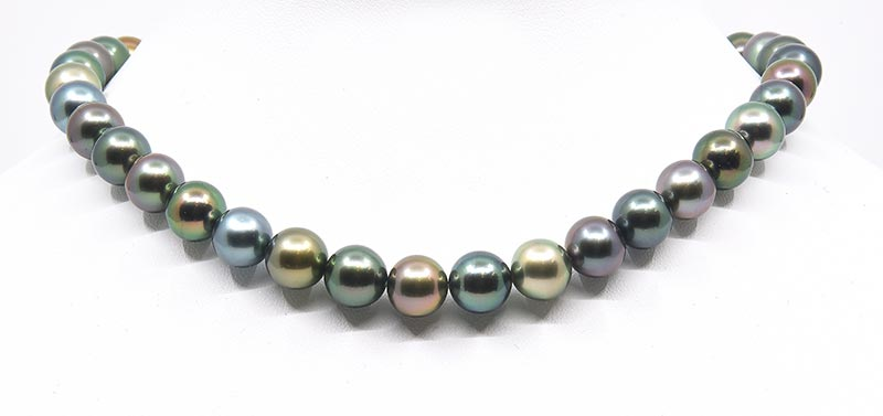 Black tahitian pearl multicolor necklace AAA luster and fancy colors