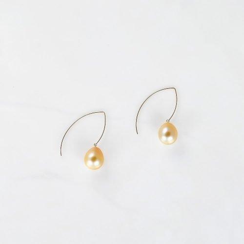 Gold south sea drop pearl earrings