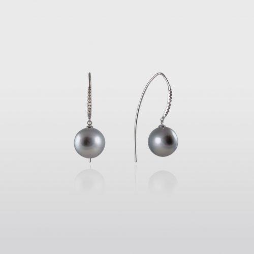 Black Tahitian Pearl Earrings with Diamonds